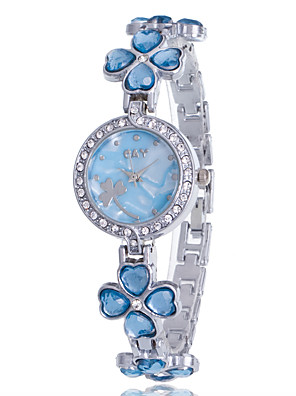 cheap Quartz Watches-Women's Bracelet Watch Diamond Watch Quartz Silver Rhinestone Imitation Diamond Analog Ladies Flower Casual Bangle Fashion - Purple Pink Light Blue One Year Battery Life / Jinli 377