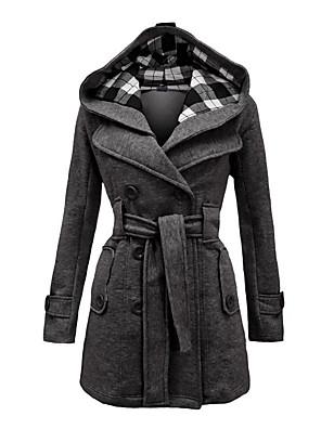 abordables Manteaux en Laine et Mélange de Laine pour Femme-Femme Hiver Manteau Longue Tartan Quotidien Rétro Vintage Grandes Tailles Noir Rouge Bleu S M L