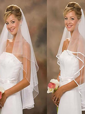 cheap Wedding Veils-Two-tier Classic & Timeless / Wedding Wedding Veil Fingertip Veils / Wedding Accessories with Tulle A-line