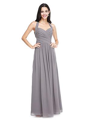 cheap Bridesmaid Dresses-A-Line Halter Neck Floor Length Chiffon Bridesmaid Dress with Criss Cross / Side Draping
