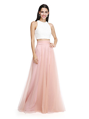 cheap Evening Dresses-A-Line / Two Piece Jewel Neck Floor Length Lace Over Tulle Bridesmaid Dress with Sash / Ribbon / Ruched