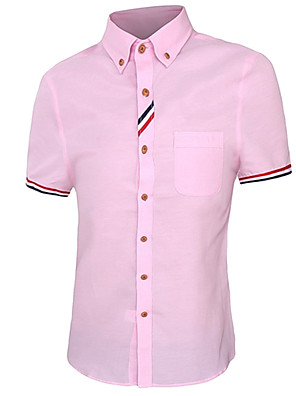 cheap Men's Shirts-Men's Solid Colored Shirt Business Casual Daily Work Button Down Collar White / Fuchsia / Pink / Blue / Light Blue / Summer / Short Sleeve