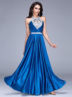 cheap Cocktail Dresses-A-Line Sparkle & Shine Keyhole Formal Evening Dress Halter Neck Sleeveless Floor Length Satin with Beading 2020