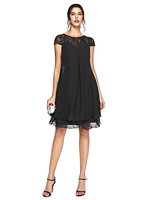 cheap Mother of the Bride Dresses-A-Line Mother of the Bride Dress Elegant Plus Size Illusion Neck Knee Length Chiffon Lace Short Sleeve with Sequin 2020