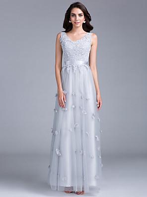 cheap Evening Dresses-Sheath / Column Open Back Formal Evening Black Tie Gala Dress V Neck Sleeveless Floor Length Tulle with Beading Appliques Flower 2020