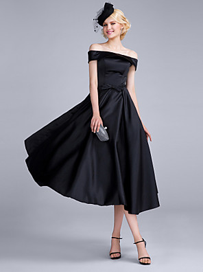 cheap Cocktail Dresses-A-Line Vintage Inspired Cocktail Party Prom Dress Off Shoulder Sleeveless Tea Length Satin Chiffon Polyester with Bow(s) 2020