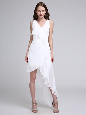 cheap Bridesmaid Dresses-A-Line V Neck Asymmetrical Chiffon Bridesmaid Dress with Pleats