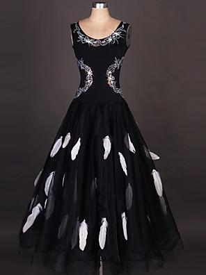 cheap Evening Dresses-Ballroom Dance Dress Draping Crystals / Rhinestones Paillette Women's Performance Sleeveless High Organza Spandex