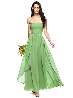 cheap Bridesmaid Dresses-A-Line Sweetheart Neckline Floor Length Chiffon Bridesmaid Dress with Criss Cross / Ruched / Open Back