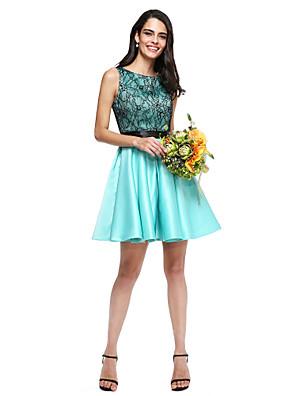 cheap Bridesmaid Dresses-A-Line Jewel Neck Short / Mini Lace / Satin Bridesmaid Dress with Sash / Ribbon