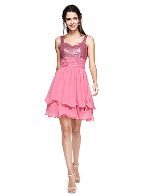 cheap Special Occasion Dresses-Back To School A-Line Sparkle & Shine Cocktail Party Prom Dress Straps Sleeveless Short / Mini Chiffon Sequined with Sash / Ribbon Ruched Tassel 2020 Hoco Dress
