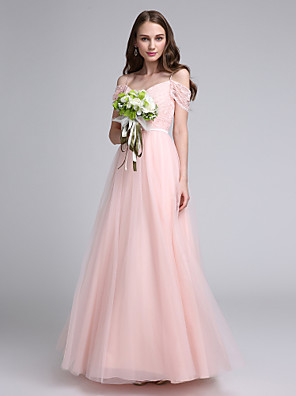 cheap Bridesmaid Dresses-A-Line Spaghetti Strap Floor Length Lace Over Tulle Bridesmaid Dress with Lace / Sash / Ribbon / Open Back