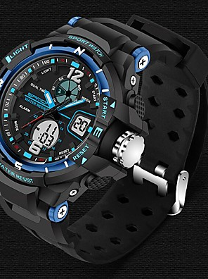 cheap Sport Watches-SANDA Men's Sport Watch Smartwatch Wrist Watch Digital Japanese Quartz Luxury Water Resistant / Waterproof Silicone Black Analog - Digital - White Black Red Two Years Battery Life / Stainless Steel