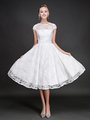 cheap Bridesmaid Dresses-A-Line Jewel Neck Knee Length Lace Bridesmaid Dress with Sash / Ribbon