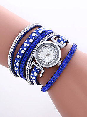 cheap Bracelet Watches-Women's Bracelet Watch Wrist Watch Quartz Quilted PU Leather Black / White / Blue Cool Colorful Analog Vintage Heart shape Casual Bohemian Bangle - Brown Red Blue One Year Battery Life / KC 377A