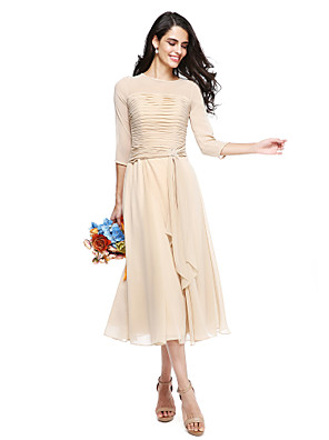 cheap Bridesmaid Dresses-A-Line Jewel Neck Tea Length Georgette Bridesmaid Dress with Ruched / Crystal Brooch