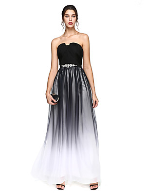cheap Special Occasion Dresses-A-Line Prom Formal Evening Dress Notched Sleeveless Floor Length Chiffon with Sash / Ribbon Criss Cross Beading 2020 / Color Gradient
