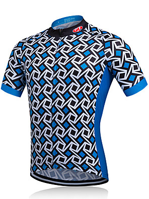 cheap Evening Dresses-Fastcute Men's Short Sleeve Cycling Jersey Cycling Jacket Polyester Plaid / Checkered Bike Jersey Mountain Bike MTB Road Bike Cycling Breathable Quick Dry Sweat-wicking Sports Clothing Apparel
