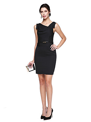cheap Special Occasion Dresses-Back To School Sheath / Column Little Black Dress Celebrity Style Holiday Homecoming Cocktail Party Dress V Neck Sleeveless Knee Length Stretch Satin with Sash / Ribbon 2020 / Prom Hoco Dress