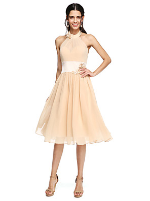 cheap Bridesmaid Dresses-A-Line High Neck Knee Length Chiffon Bridesmaid Dress with Sash / Ribbon / Pleats / Flower
