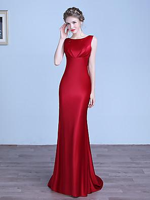 cheap Evening Dresses-Mermaid / Trumpet Minimalist Red Engagement Formal Evening Dress Jewel Neck Sleeveless Sweep / Brush Train Stretch Satin with Draping 2020