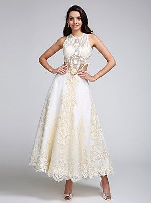 cheap Prom Dresses-A-Line Wedding Dresses Jewel Neck Ankle Length Lace Over Satin Regular Straps Casual Boho Sexy Sparkle & Shine See-Through Backless with Lace Appliques 2020