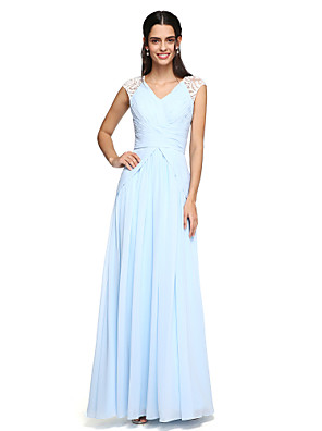 cheap Bridesmaid Dresses-A-Line V Neck Floor Length Chiffon Bridesmaid Dress with Draping / Criss Cross / Ruched
