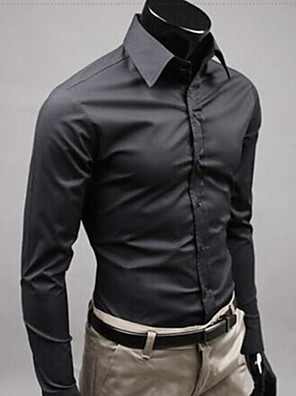 povoljno Muške košulje-Muškarci Vjenčanje Majica Jednobojni Dugih rukava Tops Posao Ulični šik Obala Crn Bijela