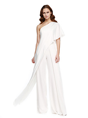 cheap Evening Dresses-Jumpsuits Elegant White Wedding Guest Formal Evening Dress One Shoulder Sleeveless Floor Length Chiffon with Draping 2020