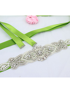 cheap Girls' Dresses-Satin Wedding / Party / Evening / Dailywear Sash With Rhinestone / Beading / Imitation Pearl Women's Sashes