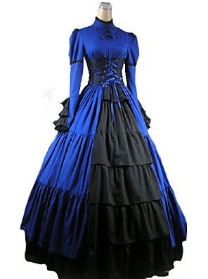 cheap Historical & Vintage Costumes-Victorian Medieval 18th Century Dress Party Costume Masquerade Women's Satin Cotton Costume Black / Purple / Red Vintage Cosplay Party Prom Long Sleeve Long Length Ball Gown Plus Size Customized