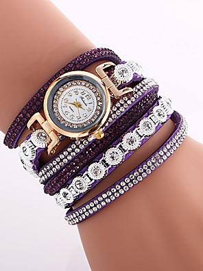 cheap Bracelet Watches-Women's Fashion Watch Bracelet Watch Wrist Watch Quartz Quilted PU Leather Black / White / Blue Cool Imitation Diamond Colorful Analog Ladies Charm Vintage Casual Bohemian - Blue Pink Light Blue