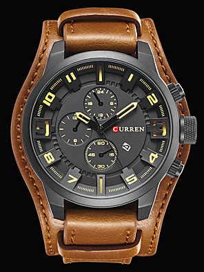 cheap Sport Watches-CURREN Men's Wrist Watch Aviation Watch Luxury Water Resistant / Waterproof Leather Black / Brown Analog - Black White / Brown Black / Red Two Years Battery Life / # / Stainless Steel / Japanese