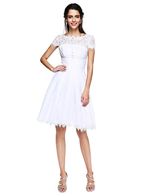 cheap Special Occasion Dresses-A-Line Fit & Flare Open Back Cute Cocktail Party Prom Dress Illusion Neck Short Sleeve Knee Length Lace with Buttons Pleats 2020