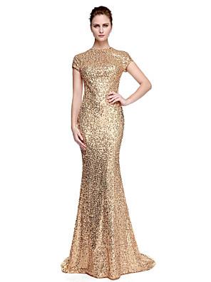 cheap Evening Dresses-Sheath / Column Elegant Celebrity Style Minimalist Formal Evening Black Tie Gala Dress Jewel Neck Short Sleeve Sweep / Brush Train Sequined with Sequin 2020 / Sparkle & Shine