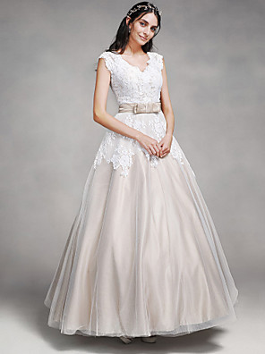 cheap Special Occasion Dresses-A-Line Wedding Dresses V Neck Floor Length Lace Satin Tulle Cap Sleeve Vintage Illusion Detail with Lace Sash / Ribbon Button 2020