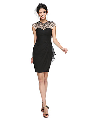 cheap Special Occasion Dresses-Sheath / Column Little Black Dress Holiday Homecoming Cocktail Party Dress Jewel Neck Sleeveless Short / Mini Chiffon with Pleats Ruched Beading 2020 / Prom