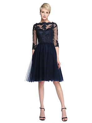 cheap Bridesmaid Dresses-A-Line Bateau Neck Knee Length Lace / Tulle Bridesmaid Dress with Appliques / Illusion Sleeve / See Through