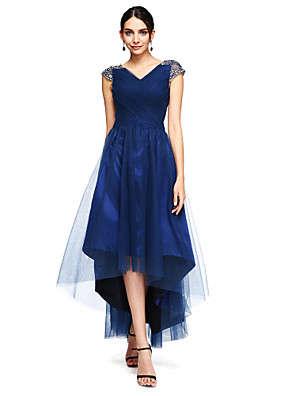 cheap Prom Dresses-A-Line Open Back Prom Formal Evening Dress V Neck Short Sleeve Asymmetrical Tulle Stretch Satin with Criss Cross Beading 2020