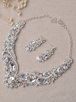 cheap Wedding Veils-Women's Jewelry Set Bridal Jewelry Sets Party Earrings Jewelry Silver For Wedding Party / Necklace