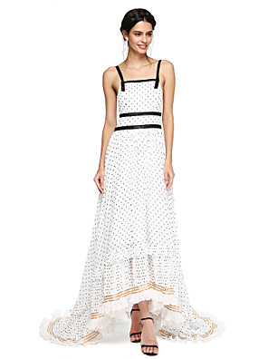 cheap Cocktail Dresses-A-Line Celebrity Style Holiday Formal Evening Dress Spaghetti Strap Sleeveless Asymmetrical Chiffon with Sash / Ribbon 2020
