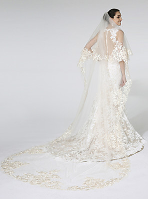 cheap Wedding Veils-Two-tier Cut Edge / Lace Applique Edge Wedding Veil Cathedral Veils with Appliques / Pattern Mesh / Angel cut / Waterfall