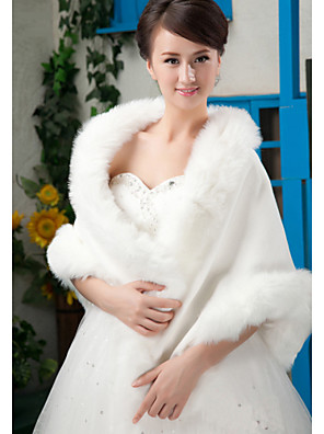 cheap Prom Dresses-Sleeveless Shawls Faux Fur Wedding / Party Evening Wedding  Wraps / Fur Wraps With
