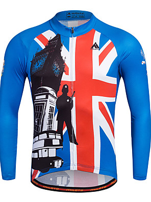 cheap Smart Watches-Miloto Men's Long Sleeve Cycling Jersey Blue Stripes Bike Shirt Sweatshirt Jersey Breathable Quick Dry Reflective Strips Sports 100% Polyester Clothing Apparel / Stretchy / Sweat-wicking