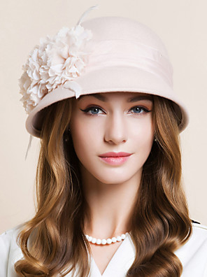 cheap Evening Dresses-Wool / Chiffon / Feather Kentucky Derby Hat / Fascinators / Hats with Floral 1pc Wedding / Special Occasion / Casual Headpiece