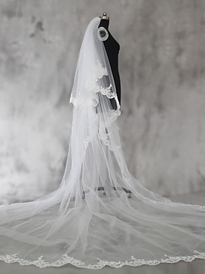 cheap Wedding Veils-Two-tier Lace Applique Edge Wedding Veil Shoulder Veils / Elbow Veils / Fingertip Veils with Sequin / Appliques Lace / Tulle / Angel cut / Waterfall