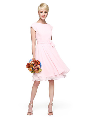 cheap Bridesmaid Dresses-A-Line / Ball Gown Jewel Neck Knee Length Chiffon Bridesmaid Dress with Bow(s) / Buttons / Sash / Ribbon