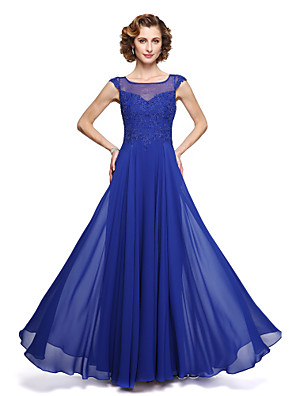 cheap Evening Dresses-A-Line Mother of the Bride Dress Elegant Jewel Neck Ankle Length Chiffon Lace Sleeveless with Appliques 2020