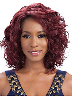 cheap Men's Shirts-Synthetic Wig Wavy Wavy Wig Medium Length Dark Wine Synthetic Hair Women's Red
