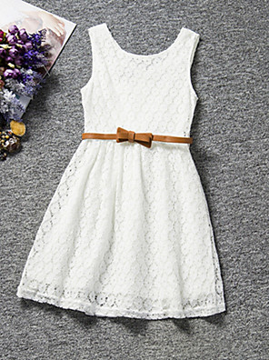 cheap Girls' Dresses-Kids Girls' Sweet Party Daily Birthday Solid Colored Lace Sleeveless Regular Regular Dress White